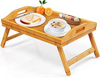 FURNINXS Bamboo Bed Tray for Eating, Breakfast in Bed Tray with Folding Legs and Handles, Serving Bed Tray Table for Bedro...
