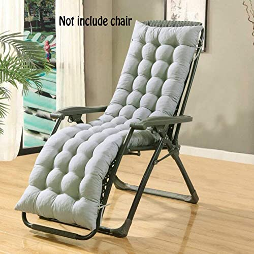 Coussin Bain de soleil Transat de jardin Fauteuil relax Lounge épais Pad Outdoor Assise Coque, gris, 160*48*8CM (Ne Pas Inclure Les Chaises)