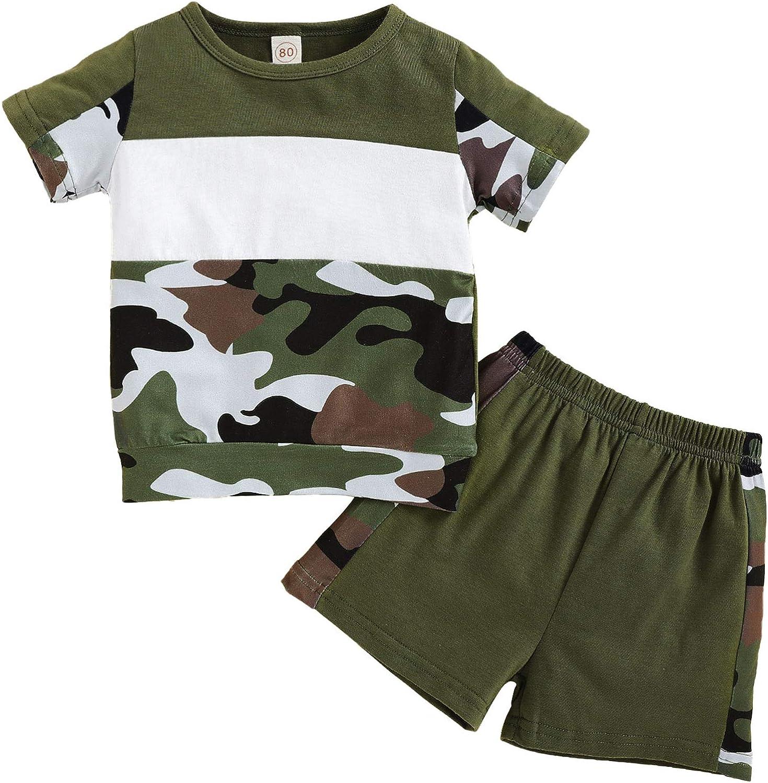 Baby Boy Summer Outfits Toddler Boy Camouflage Shirt Shorts 2Pcs