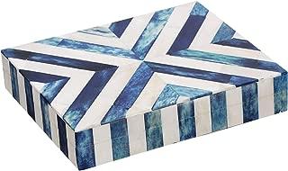 Handicrafts Home Chevron Jewelry Organizer and Storage Box for Women Girls Bedroom Office, Closet – Made of Buffalo Bone Inlay Artwork with Premium Quality Pine MDF Wood (Chevron-Blue, 8x5x1.5 inch)