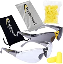 TRADESMART Clear & Tinted Safety Glasses Kit & Earplugs UV400, Anti Fog & Scratch Resistant Treatment