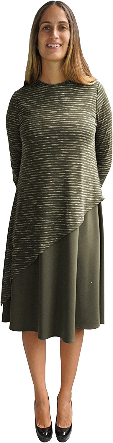 Baby'O Women's Sweater Knit Layered Asymmetrical Midi Dress