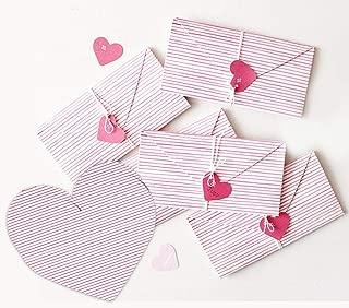 moin moin メッセージ カード 手紙 ミニレター レターセット ストライプ ハート ピンク 折り畳み (タグ + 紐) 10セット
