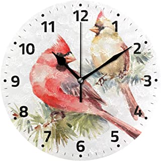 Wamika Northern Cardinal Bird Wall Clock Battery Operated Non Ticking Silent Round Acrylic Christmas Bird In Branch Quartz Decorative Clocks for Home Office Kitchen School Easy to Read