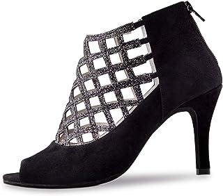 Anna Kern Zapatos de baile para mujer 845-75, piel de ante negro, ancho normal, tacón de aguja de 7,5 cm