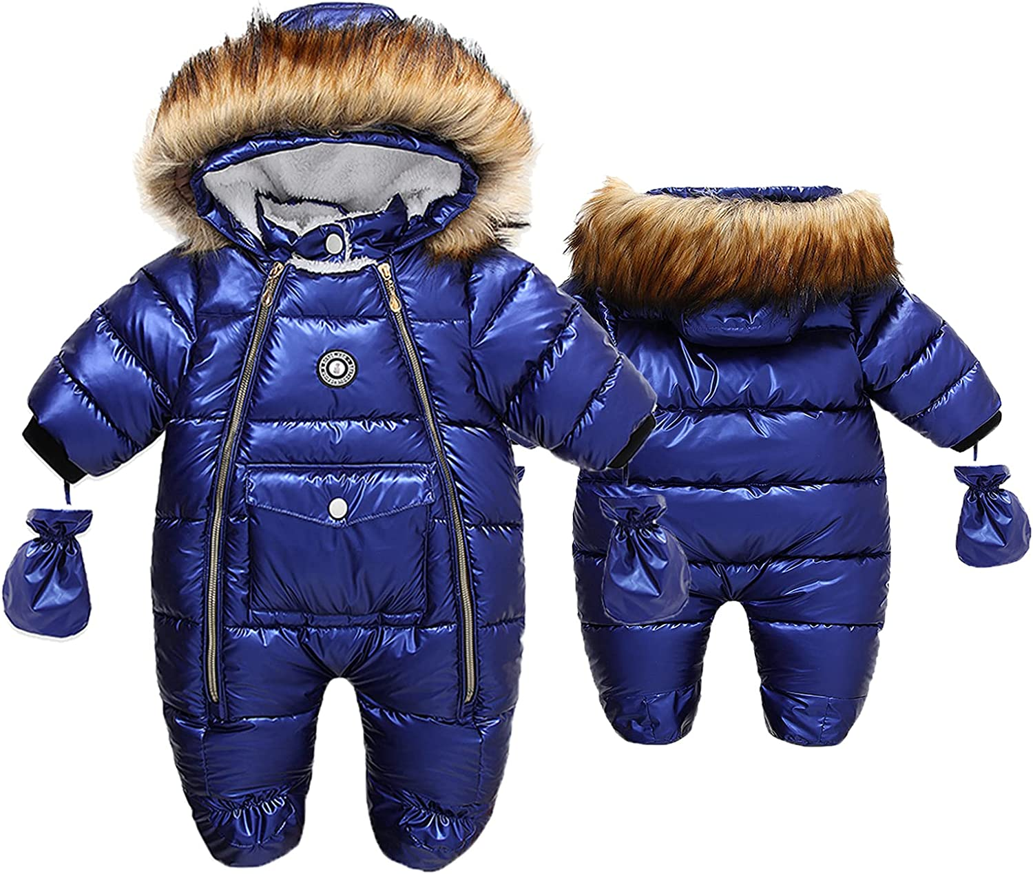 Baby Warm Winter Romper Fur Hooded Snowsuit Fleece Coat with Mittens and Shoes