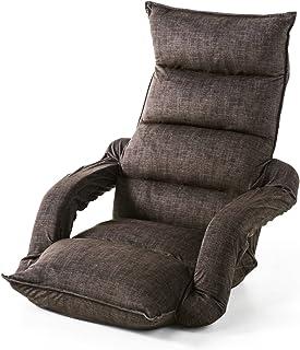 サンワダイレクト 座椅子 ひじ掛け付き ハイバック 肘掛け連動 42段階リクライニング ダークブラウン 150-SNCF010BR