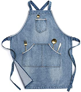 Jeanerlor - Cotton Denim Apron with Convenient Pockets for Women - Jean Apron for Hairstylist, Chef, Artisan and Barista, Cross Straps & Adjustable S to L (Denim Blue)