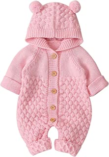 Haokaini Newborn Baby Ear Hooded Knitted Romper Snowsuit Bodysuit Overalls for Boy Girl