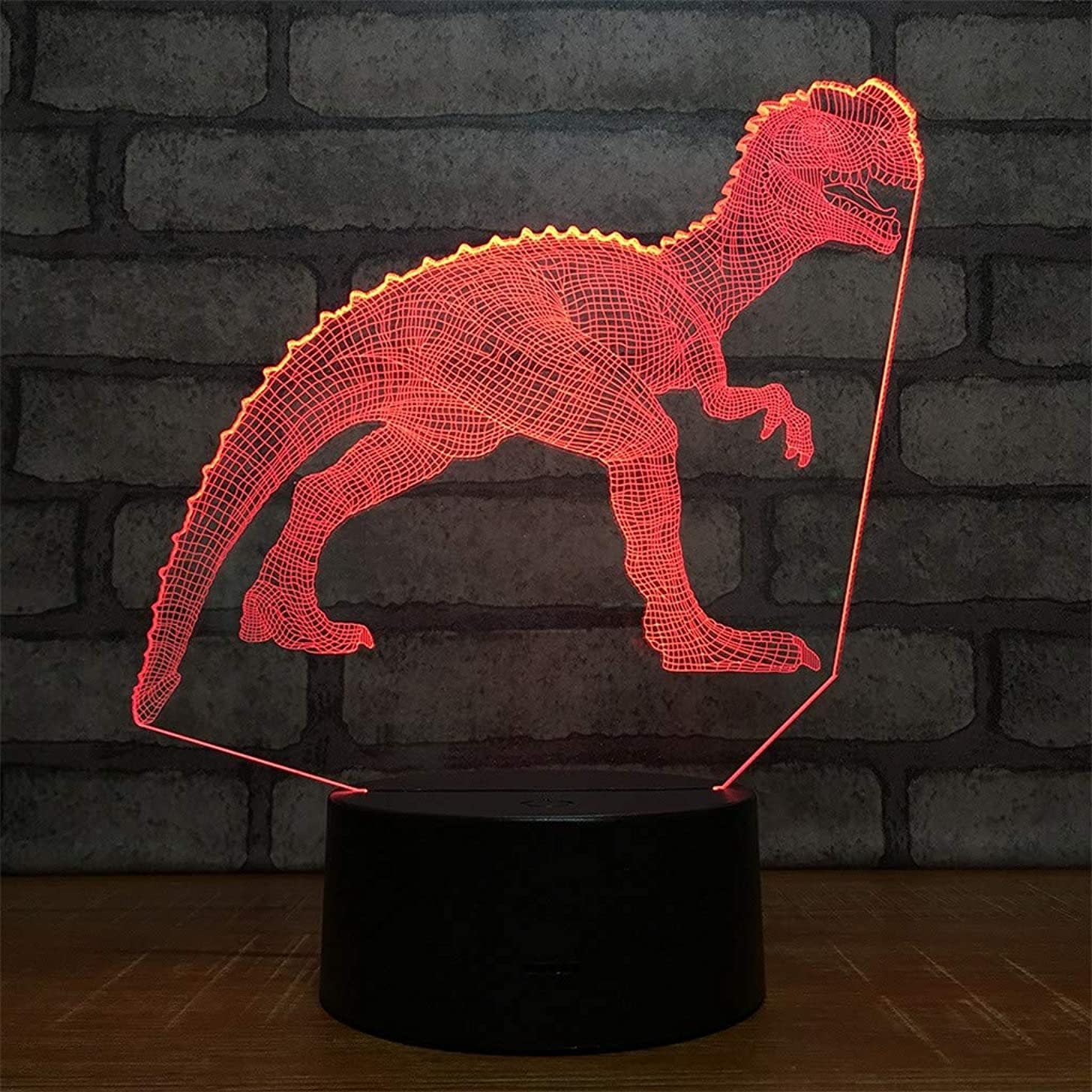 Dinosaur Night Lights for Kids T Rex Birthday Indoraptor Toy 3D Illusion Lamp Dino Gifts for Boys Home Bedroom Party Supply Decoration 7 Color Blue Velociraptor Raptor (dino3)