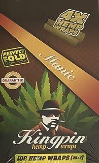 Kingpin Pure Hemp Wraps - Sealed Box - 100 (25 x 4) Hemp Wraps per Box - (Mango Tango - Manic)