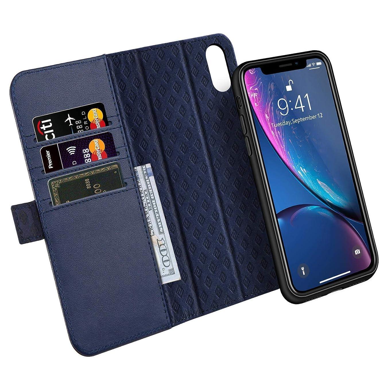 エロチック汗誠意iPhone XR ケース 手帳型 分離型 本革 RFIDブロッキング サイドマグネット式 取り外し カバー 全面保護 スタンド機能 カード収納 耐汚れ 耐衝撃 財布型 ギフトボックス アイフォンXR(6.1インチ用 ネイビー)Navy Blue