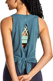 CRZ YOGA Women's Workout Sleeveless Shirts Round Neck Yoga Vest Open Back Sport Tank Tops