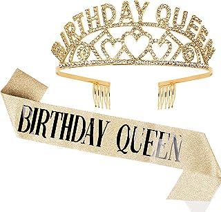 CANITOR Birthday Rhinestone Tiara & Sash Set Gold Birthday Crown Birthday Party Favors Glitter Birthday Decorations for Qu...