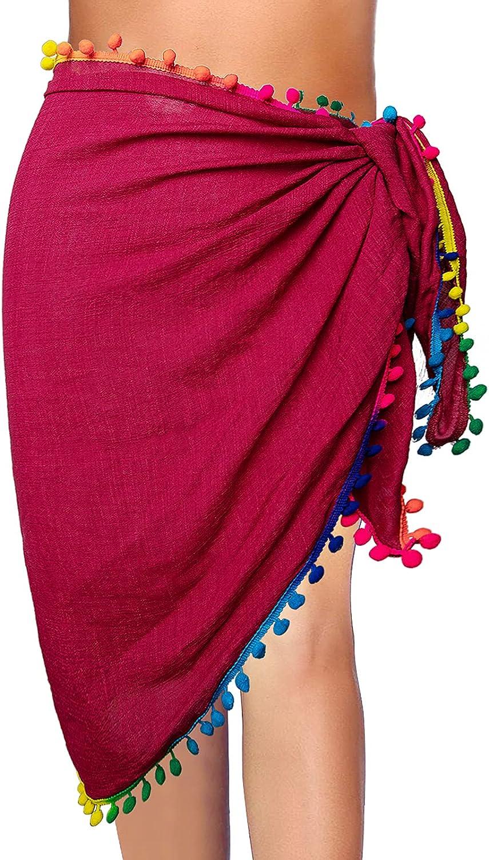 Mictchz Women Sarongs Beach Wrap Swimsuit Cover Ups Tassel Bathing Suit Cover up Short Skirt Sheer Bikini Wraps