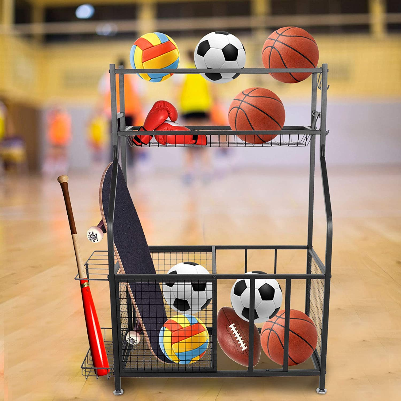 Regular dealer HURRISE Surprise price Ball Storage Rack Heavy Duty Sports Basket Iron Garage