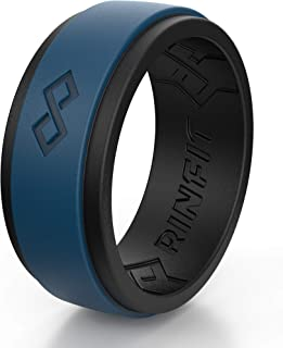 Silicone Wedding Ring for Men 1 or 3 Rings Pack. RinfitAir Breathable Design, Silicone Rubber Bands. Men's Wedding Band Size 7-14