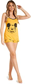 Lounge Wear - Set de pijama para mujer, 100% algodón, Mickey Mouse y Minnie Mouse