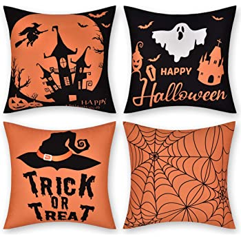 Fascidorm Set of 4 Halloween Pillow Cover, Happy Halloween Trick or Treat Throw Pillow Case, Orange and Black Halloween Throw Cushion Cover for Room Bedroom Sofa Bed (18 x 18 inch)