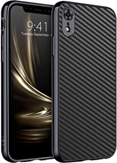 DUEDUE iPhone XR Cases, iPhone XR Phone Case, Slim Hybrid Shock Absorbing Hard PC Bumper Rugged Carbon Fiber Back Cover for iPhone XR/6.1