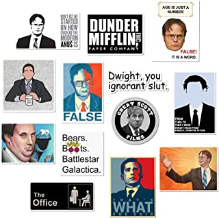 The Office Stickers, CATTA Office Decal Waterproof Vinyl Stickers Pack with Michael, Dwight, Jim for Laptop, Notebook, Bottles, MacBook(13 Stickers Pack)