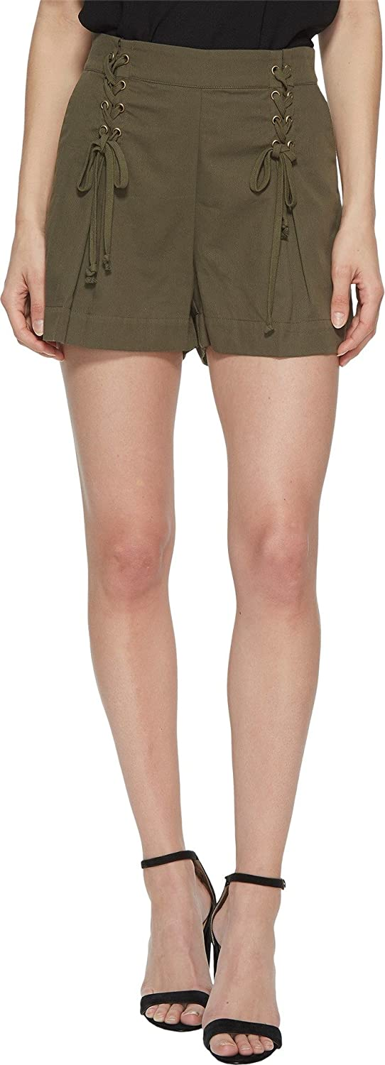 1.STATE Womens Flat Front Shorts w Laceup Waist Detail