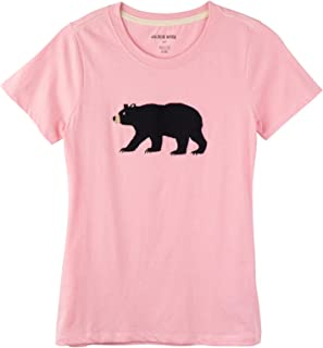 Little Blue House By Hatley Family, Women's Short Sleeve Pajama Tee - Black Bear On Pink, X-Large