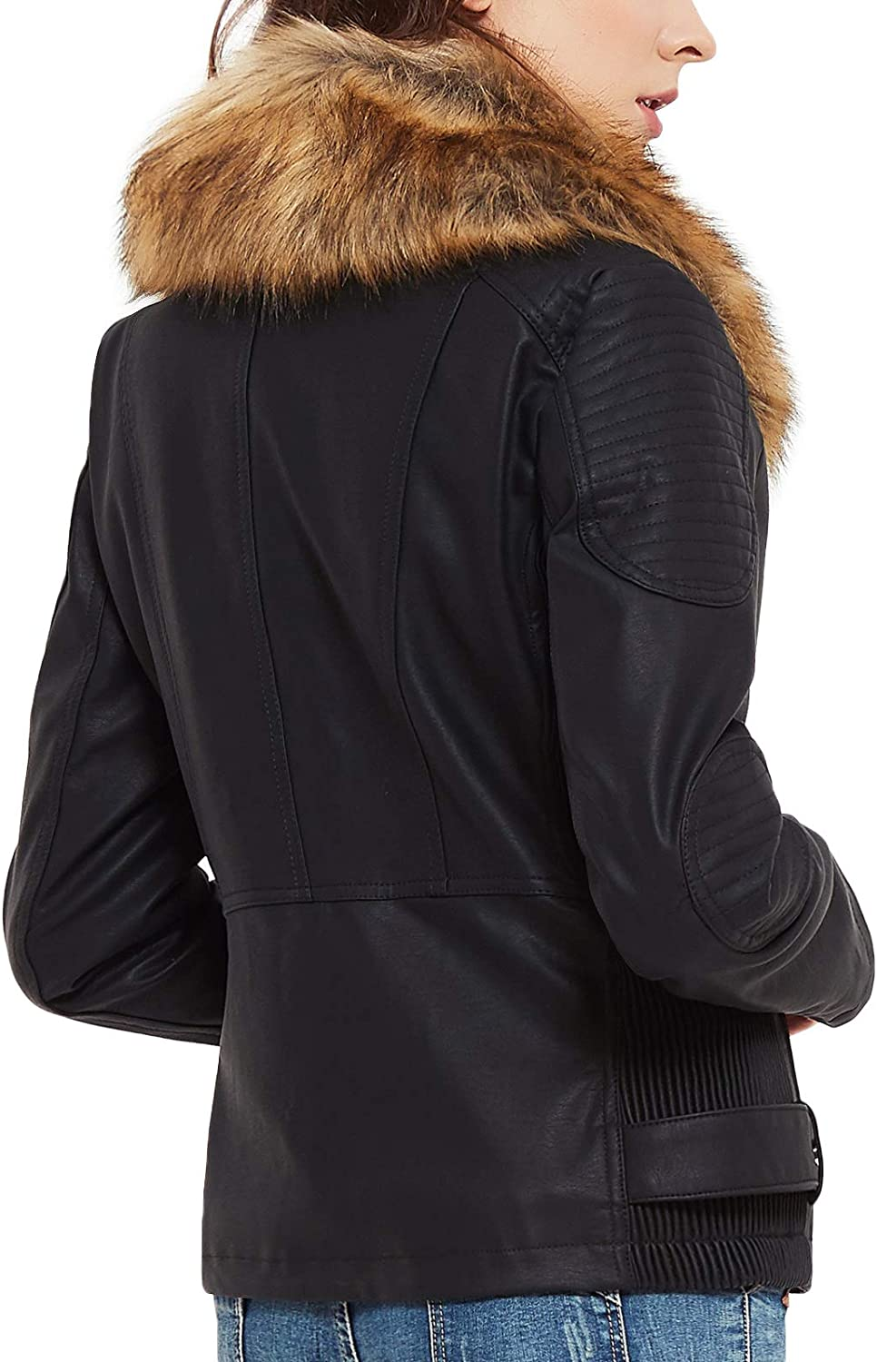FIRST WAY Women's Faux Leather Jacket with Pockets Fur Lining Moto Biker Short Coat Slim Fit PU Outwear for Fall and Winter