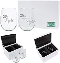 Mr. Right and Mrs. Always Right Wine Glass Gift Set, 2-21oz Hand Etched Stemless Wine Glasses Packed in a Stylish Gift Ready Box, The Perfect Couples Gift for Engagements Weddings and Anniversaries