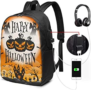 Mochila con Interfaz USB Happy-Halloween 17-Inch Laptop Backpack with USB Charging Port Men's and Women's Backpack TSA College School Business Travel Large Bags