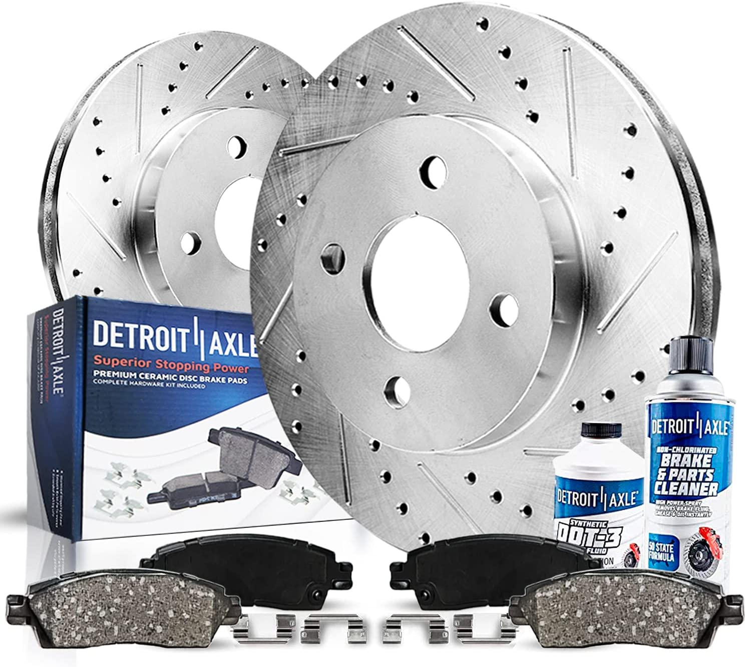 Detroit Axle - Pair 2 A surprise price is realized Front Selling Disc Kit Slotted and Drilled Brake