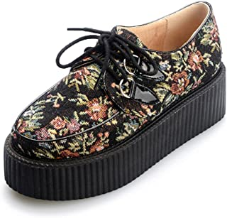 RoseG Women's Handmade Suede Flower Pattern Lace Up Flat Platform Creepers Shoes