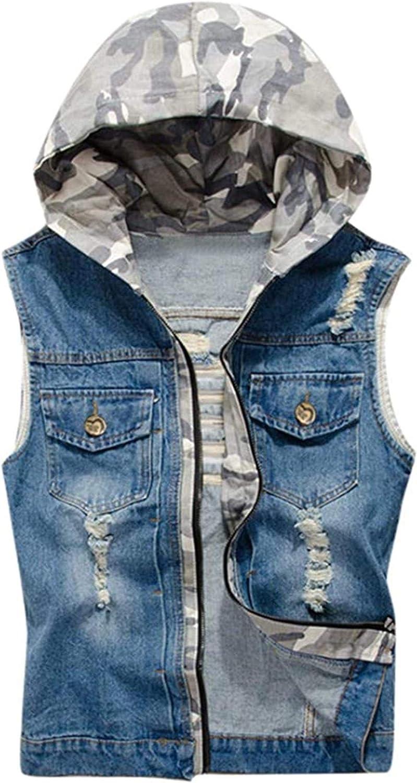 Men's Zipper Denim Jacket Vest with Hood Casual Sleeveless Slim Fit Camo Print Lightweight Outwear