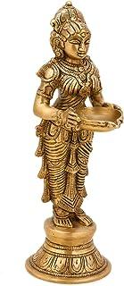 CraftVatika Indian Lady Holding Lamp Diya Brass Pooja Candle Holder Religious Oil Lamp Diya Home Decor Gifts