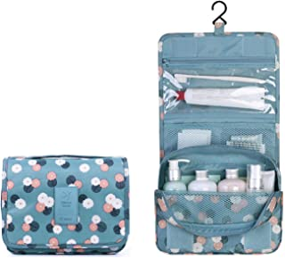 New Hanging Toiletry Bag Bathroom Organizer Travel Nylon Portable Cosmetic Bag for Women and Men (Blue Flower)