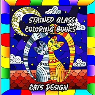 Stained Glass Coloring Books: Creative Cats Designs for Stress Relief and Relaxation