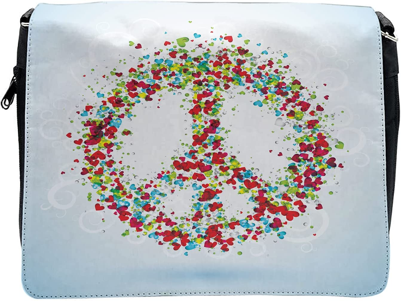 Ambesonne Colorful Cross Body Messenger Bag, Peace Sign with Hearts, Unisex