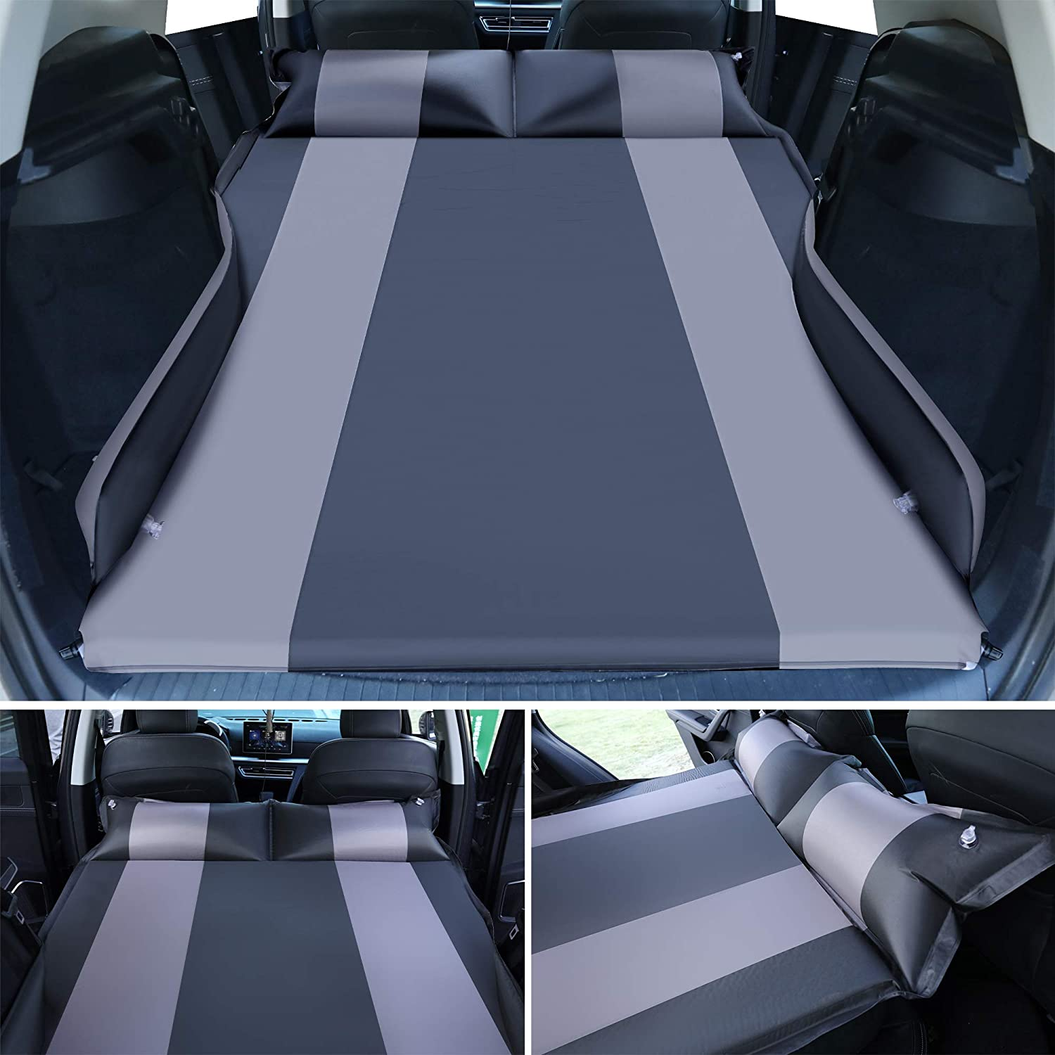 Heyoh Automatic SUV air Mattress Perfect Car Mattress with Inflatable Pillow Used for Minivan//SUV//Truck Back seat Self Inflating Sleeping pad for car Camping or Tent Camping