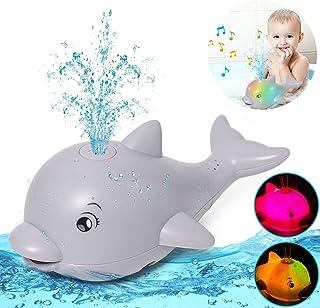 Bath Toys Light Up Dolphin Bathtub Toy Induction Water Spray Toy Bath Time Fun