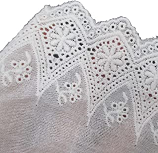 White Cotton Floral Eyelet Embroidered Lace Trim Fabric 4 Inch 10cm Wide By 5 Yards For Garment Skirt Extender Wedding Home Decor DIY Craft Supply