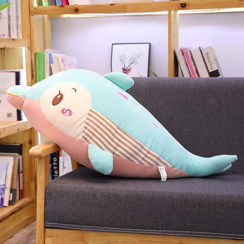 AHYYY Bambola variopinta del Letto Pigro della barriera Lunga Sveglia Sveglia della Bambola di Ragbambola del Giocattolo del Delfino Variopinto del Giocattolo,Blu Cielo 95 cm