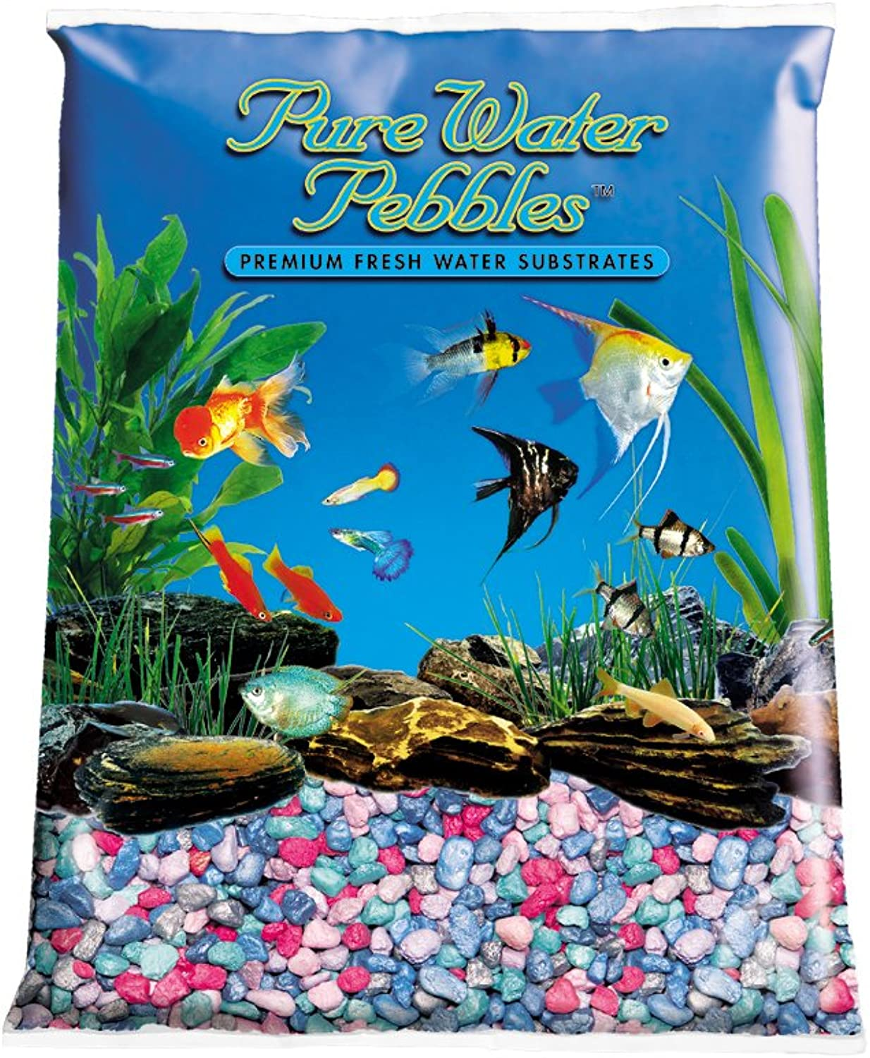 Pure Water Pebbles Aquarium Gravel, 25Pound, Rainbow Frost by Pure Water Pebbles