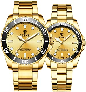 Couple Watches Classic Golden Stainless Steel Watch His and Hers Waterproof Quartz Watch Gifts Set of 2