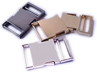 Bobeey 2pcs Flat Metal Side Release Buckle for Purses Making,Metal Buckle for Webbing Leathercarft Accessories BBC35, Ligh...