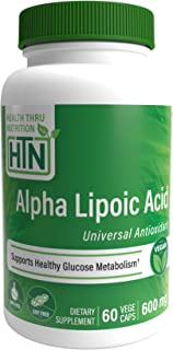 Alpha Lipoic Acid (ALA) 600mg 60 Vegecaps - Vegan, Non-GMO, Gluten Free, Hypoallergenic , by Health Thru Nu...