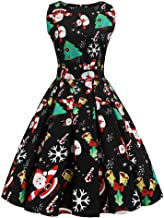 COOKI Christmas Dresses for Women Vintage Lace Cocktail A-Line Christmas Tree Xmas Sleeveless Party Swing Dress Costumes