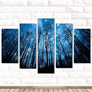 JIAN.C 5D Diamond Painting Kits for Adults 5 Panel Diamond Painting Splicing Diamond Painting Diamond Forest Starry Embroidery Kits Number Decorations for Wall Decor Gifts