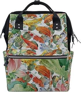 Backpack Japan Japanese Fish Koi Floral Lotus Customized Large-Capacity Handbag Travelling Daypack for Men/Women