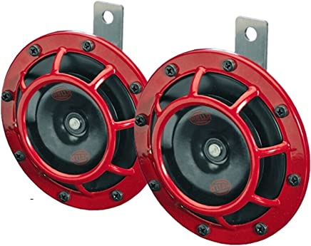 HELLA 003399803 Supertone 12V High Tone / Low Tone Twin Horn Kit with Red Protective Grill, 2 Horns
