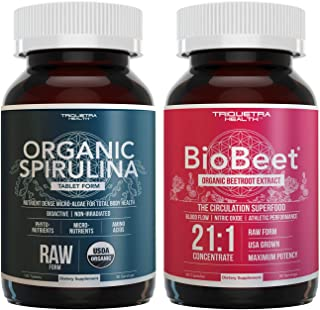 BioBeet Beet Root Extract Capsules (21:1 Concentration) Plus Organic Spirulina Tablets